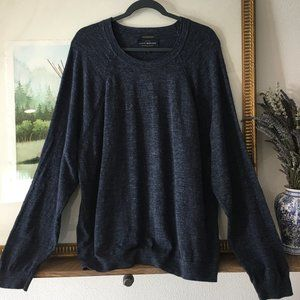 Lucky Brand Welterweight Marled Navy Blue Sweater